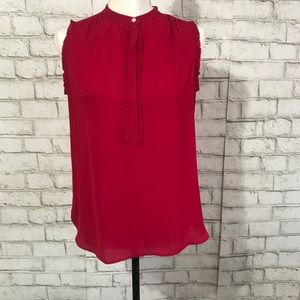 😃Ann Taylor Loft red sleeveless blouse sizexsmall